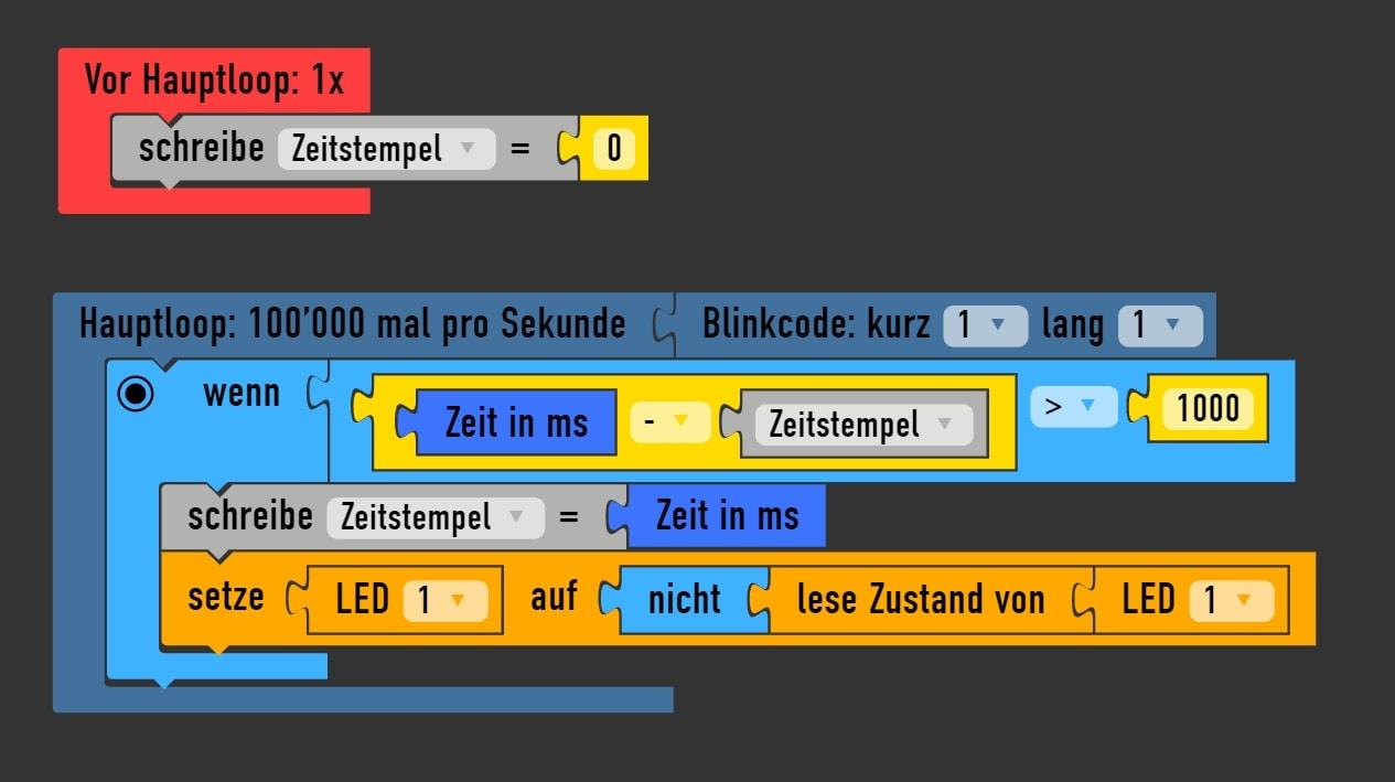 Arudino Sketch für nicht blockeirendes Blinken einer LED (Klick für Zoom)